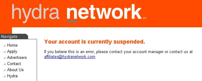 Hydra Network Account Termination
